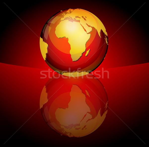 Fényes bolygó gömb földrész Afrika absztrakt Stock fotó © TheModernCanvas