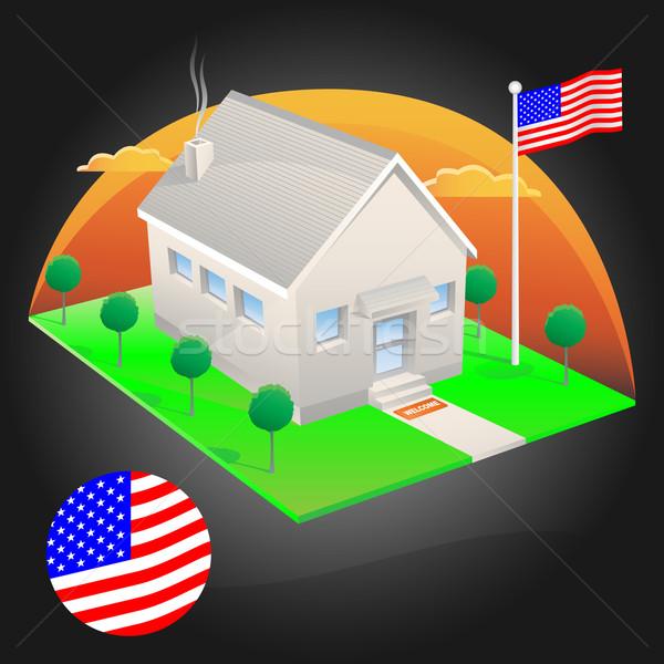 Amerikan ev bayrak eps8 Bina dizayn Stok fotoğraf © TheModernCanvas