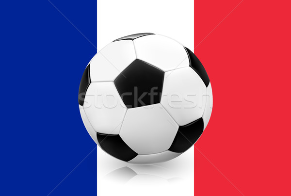Realistic soccer football on French flag background. Stock photo © TheModernCanvas