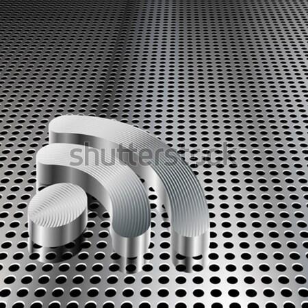 Stock fotó: Erő · szimbólum · króm · hálózat · valósághű · 3D