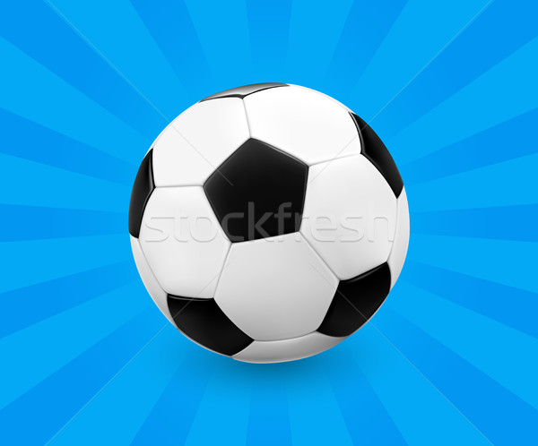 Soccer ball / football on blue background with light rays. Stock photo © TheModernCanvas