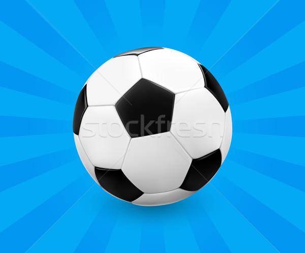 Soccer ball calcio blu luce raggi design Foto d'archivio © TheModernCanvas