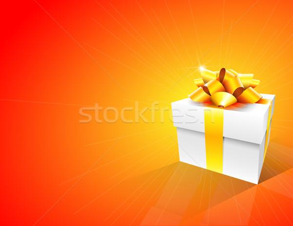 Hediye kutusu turuncu beyaz altın yay soyut Stok fotoğraf © TheModernCanvas