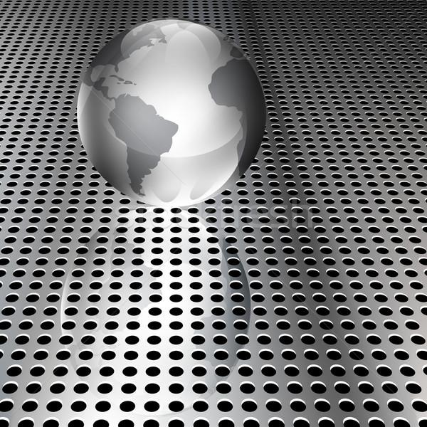 Fémes földgömb króm hálózat valósághű eps10 Stock fotó © TheModernCanvas