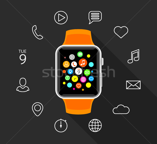 Modern narancs app ikonok szürke fehér Stock fotó © TheModernCanvas