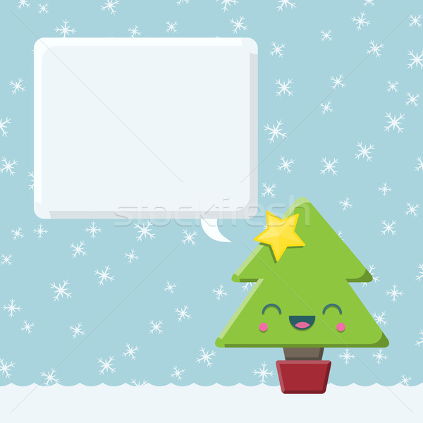 Kawaii Christmas Tree with Speech Bubble Stock photo © Theohrm