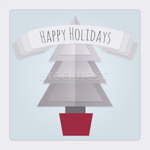 árbol de navidad tarjeta cuadrados 3D Foto stock © Theohrm