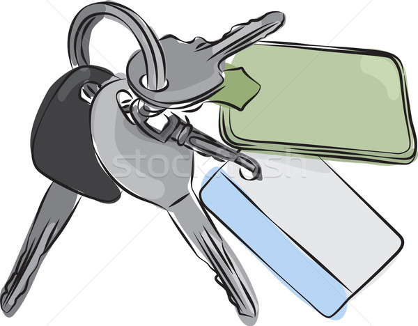 Set of Keys Line Drawing Stock photo © Theohrm