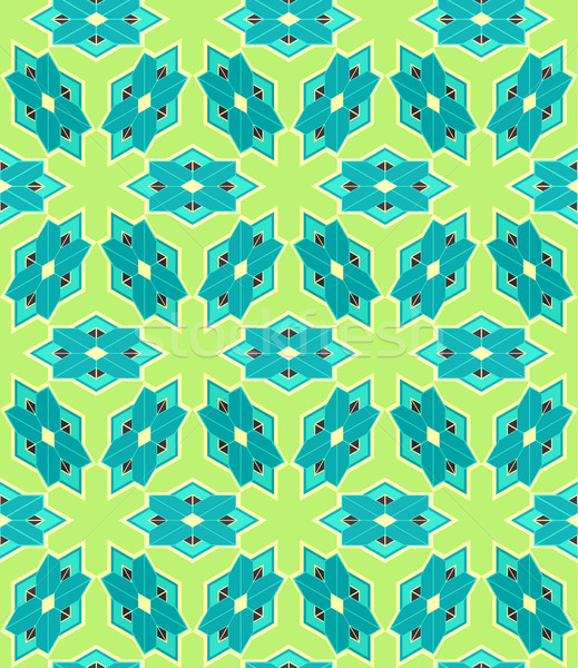 Sin costura azulejo 3D patrón azul verde Foto stock © Theohrm