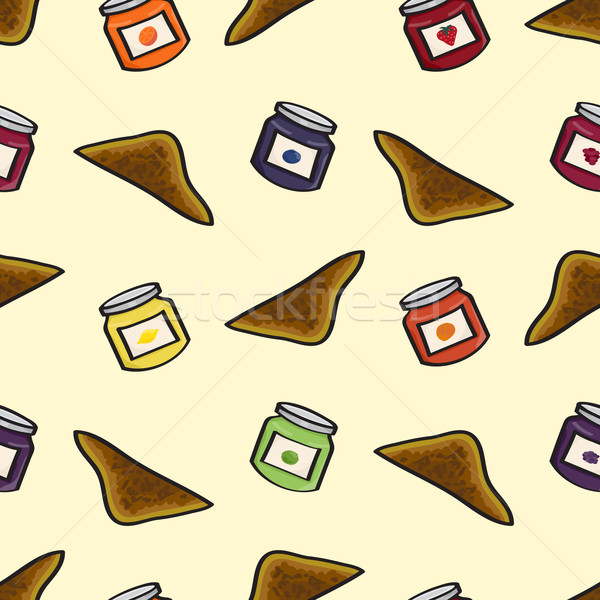Toast and Jelly Seamless Background Stock photo © Theohrm