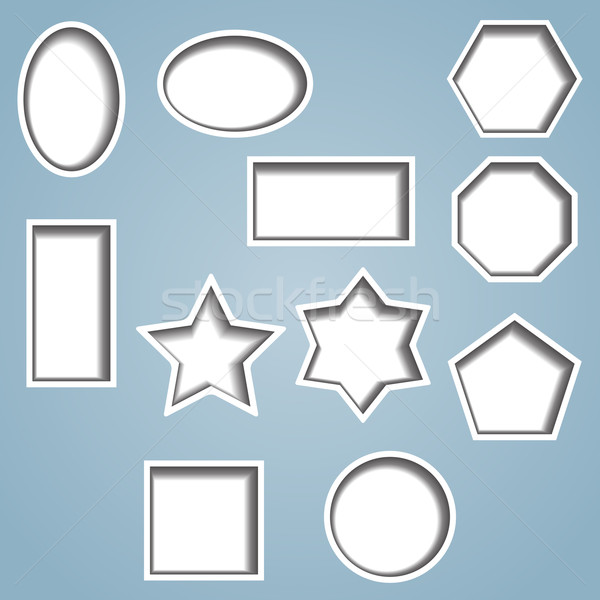 Set of 11 cut out shapes Stock photo © Theohrm