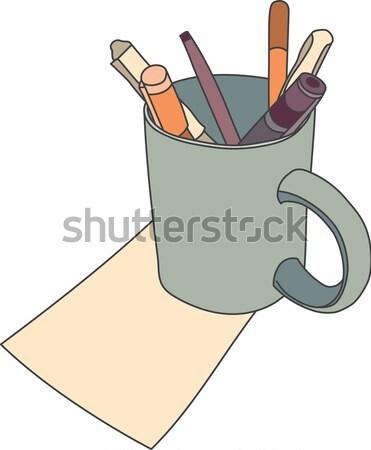 Taza línea dibujo color plumas Foto stock © Theohrm