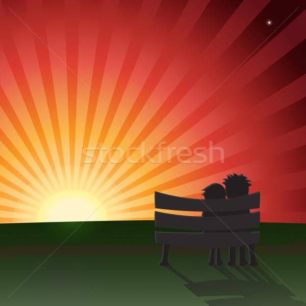 Pareja banco sesión puesta de sol archivo vector Foto stock © Theohrm