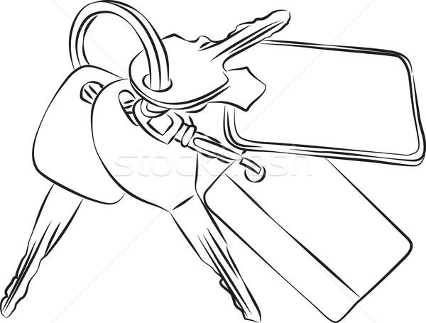 Szett kulcsok vonal rajz autó művészet Stock fotó © Theohrm