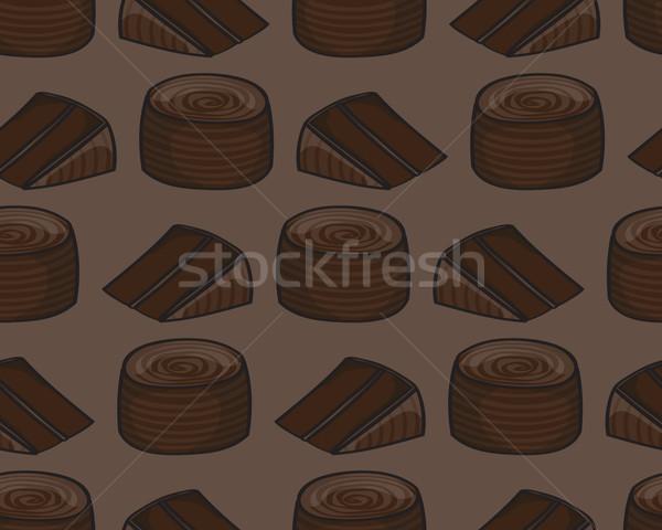 Pastel de chocolate sin costura azulejo Cartoon patrón archivo Foto stock © Theohrm