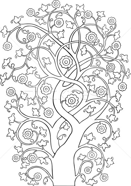 Ornate Vintage Tree Silhouette outline Stock photo © Theohrm