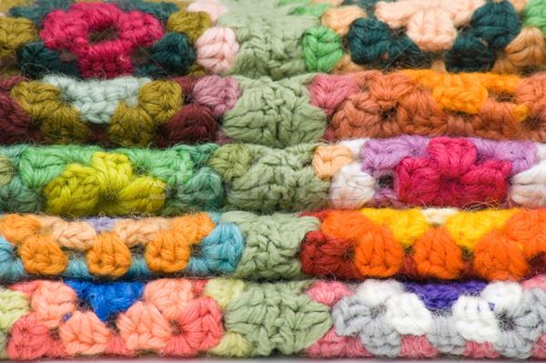 Haken pleinen heldere kleuren weefsel Stockfoto © Theohrm