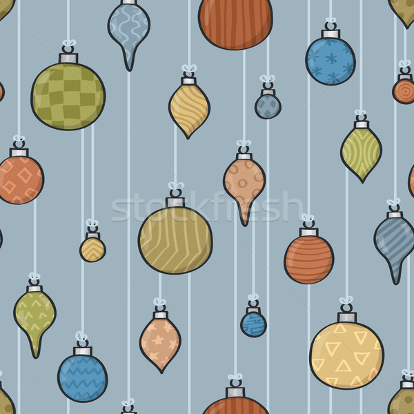 Seamless Cartoon Baubles Background Stock photo © Theohrm
