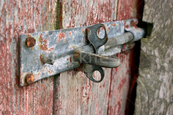 Rusted Door bolt on peeling wooden door Stock photo © Theohrm
