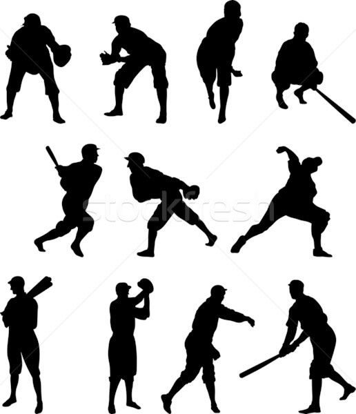 Baseball Player Silhouette – Set One Stock photo © Theohrm