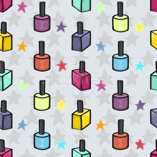 Cartoon Nail varnish Seamless background Stock photo © Theohrm