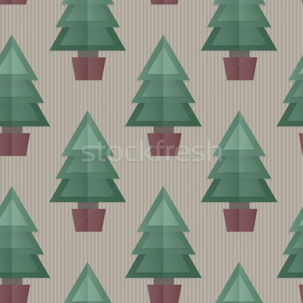 Sin costura árbol de navidad azulejo 3D doblado papel Foto stock © Theohrm