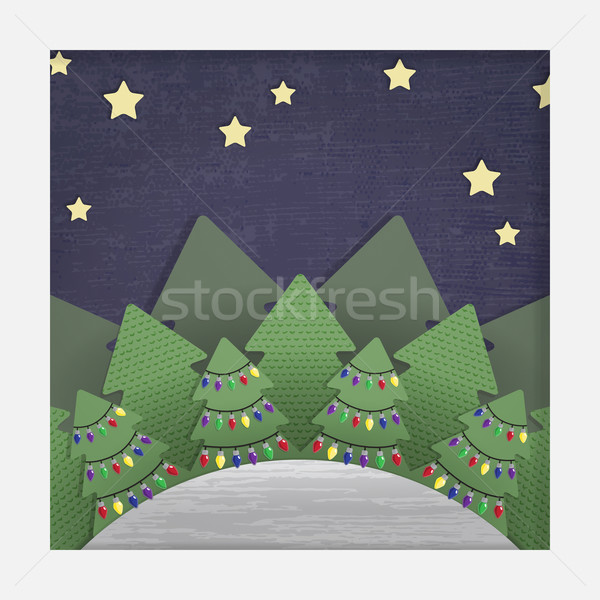 Christmas Forest Paper Cut-out Stock photo © Theohrm