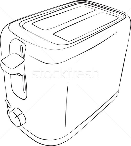 Opiekacz line rysunek nowoczesne plaster żywności Zdjęcia stock © Theohrm