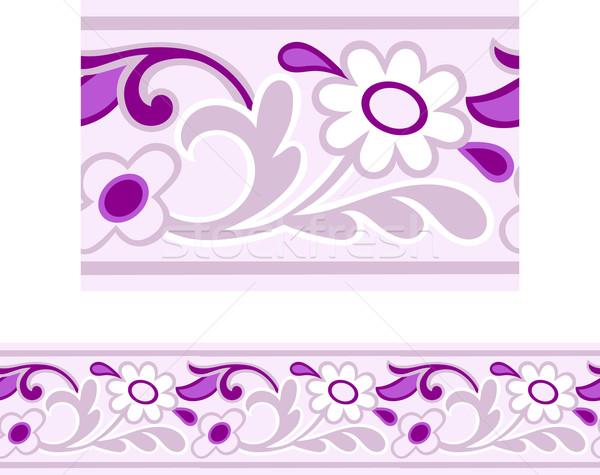 Sin costura Daisy frontera rosa púrpura diseno Foto stock © Theohrm