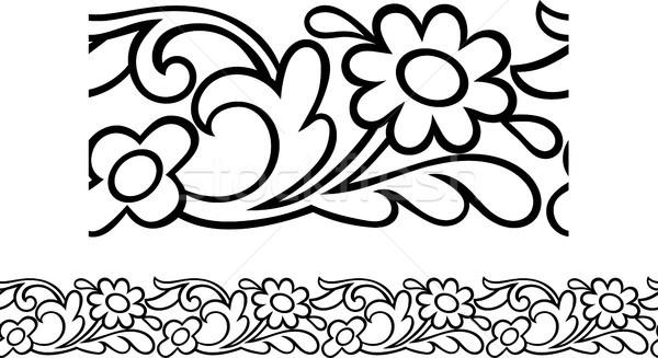 Daisy frontera patrón vector sin costura estilizado Foto stock © Theohrm