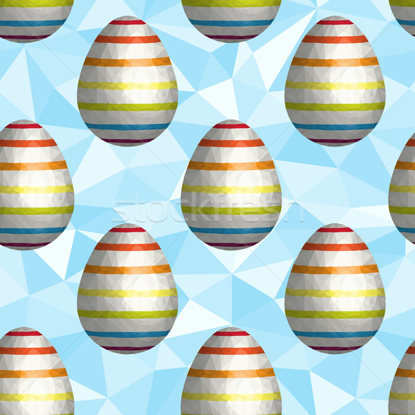 Low Poly Easter Egg Seamless Background Stock photo © Theohrm