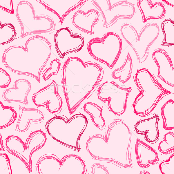 Seamless Sketched Heart Background Stock photo © Theohrm