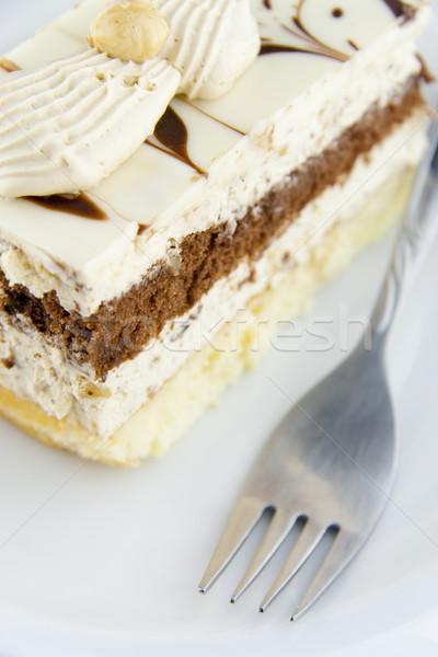 Cake plaat vork voedsel chocolade restaurant Stockfoto © TheProphet