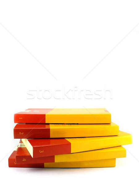 Kırmızı sarı kitaplar yalıtılmış beyaz Stok fotoğraf © TheProphet