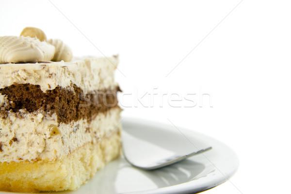 Nougat cake with fork Stock photo © TheProphet