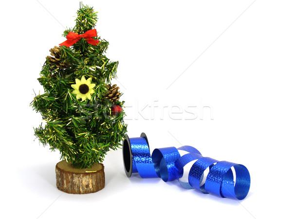 Kerstboom namaak Blauw decoratie lint verjaardag Stockfoto © TheProphet