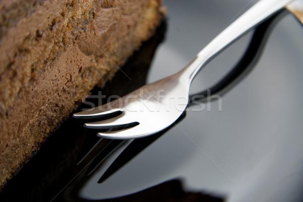 Vork plakje zwarte plaat chocolade Stockfoto © TheProphet