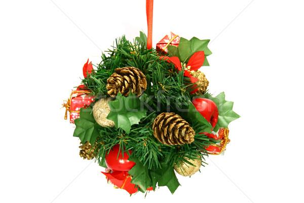 Boom decoratie bal kerstboom geïsoleerd witte Stockfoto © TheProphet