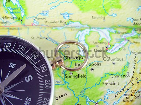 Chicago kompas kaart USA stad richting Stockfoto © TheProphet