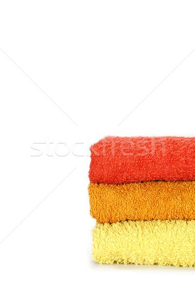 Handdoeken geïsoleerd handdoek lagen sauna witte Stockfoto © TheProphet