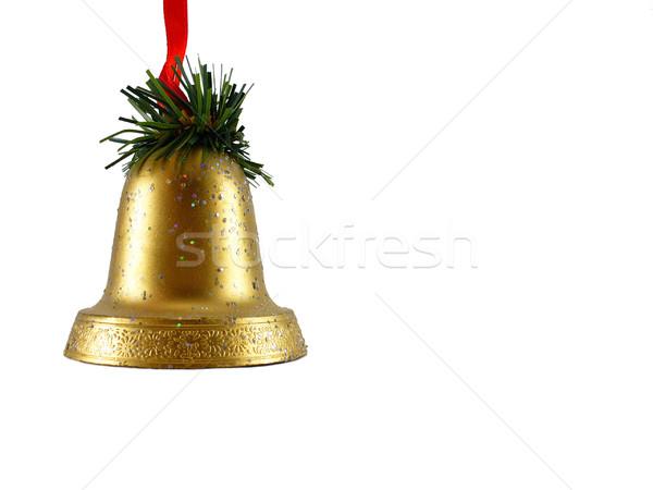 Christmas bel decoratie gouden Rood vakantie Stockfoto © TheProphet