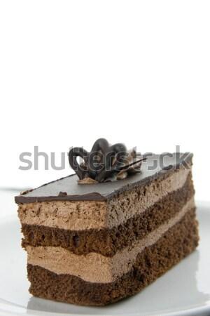 Witte plaat geïsoleerd voedsel chocolade Stockfoto © TheProphet