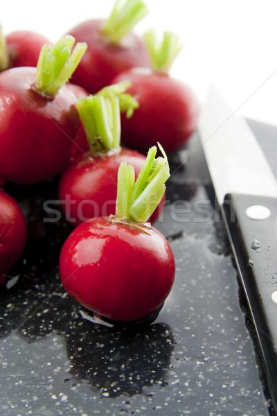 Photo stock: Radis · rouge · couteau · noir · planche · à · découper