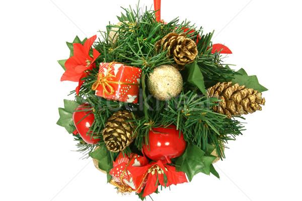 Decoratie bal opknoping kerstboom geïsoleerd witte Stockfoto © TheProphet