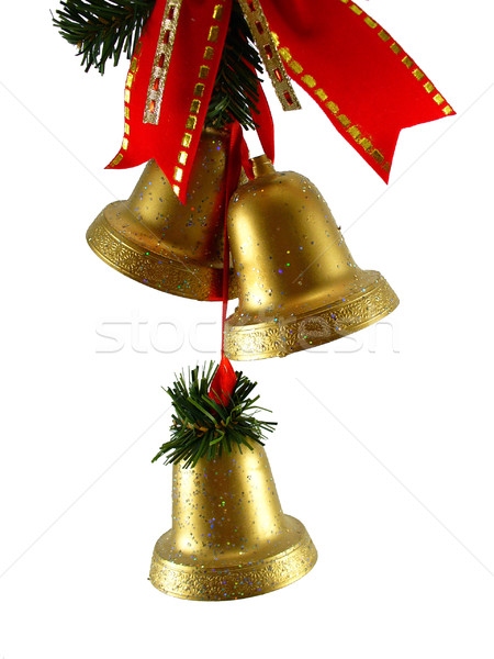 Christmas bells and red ribon Stock photo © TheProphet