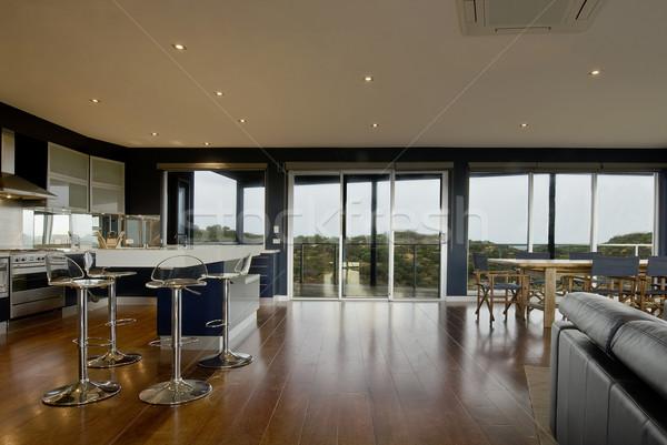 Aile yaşayan geniş görmek deluxe mutfak Stok fotoğraf © thisboy