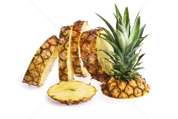 Dilimleri ananas yukarı yalıtılmış beyaz Stok fotoğraf © thisboy