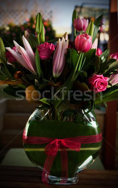 Jarrón flores flor primavera hoja Foto stock © thisboy