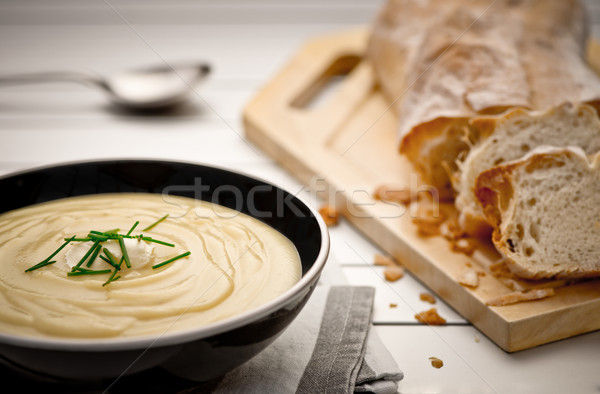 Stok fotoğraf: Patates · Çorbası · kupa · tok · taze · ev · yapımı · krem