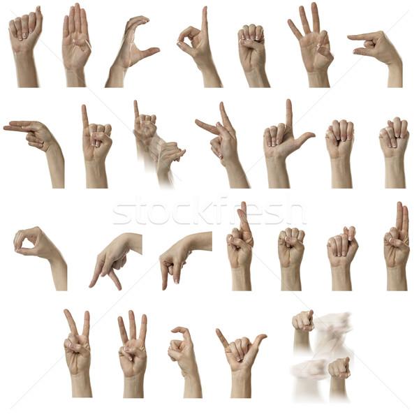 Alfabe parmak yazım amerikan işaret dili kadın Stok fotoğraf © thisboy